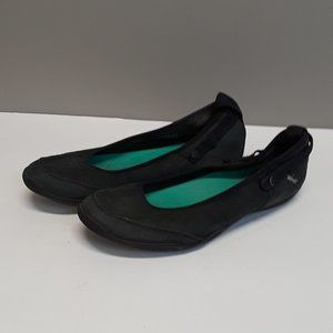 Teva Black Perforated Leather Ballet Flats Size 10